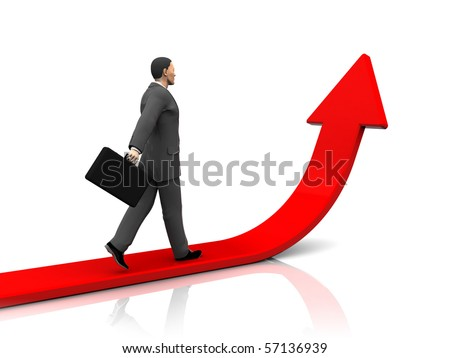 3d illustration of businessman step forward and upward arrow - stock photo