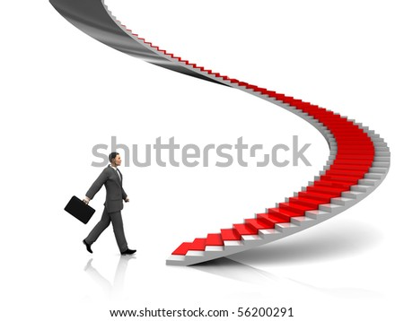 3d illustration of businessman step to stairway with red carpet