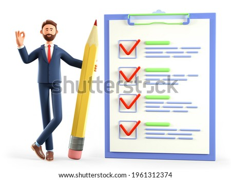 3D illustration of businessman with ok gesture holding a huge pencil, standing nearby a giant marked checklist on a clipboard paper, questionnaire, customer survey form. Successful tasks completion.