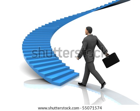 3d illustration of busnessman moving forward to stairway