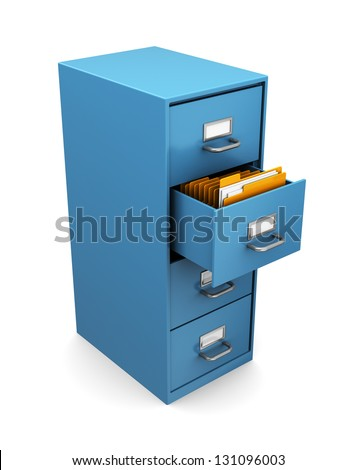3d illustration of cabinet with folders