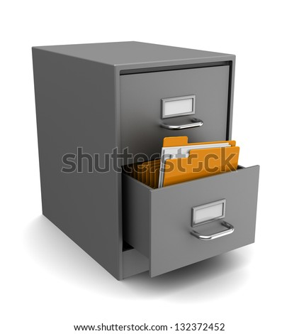3d illustration of cabinet with folders over white background