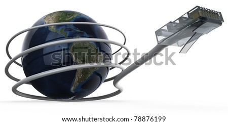 3d illustration of cable connected World