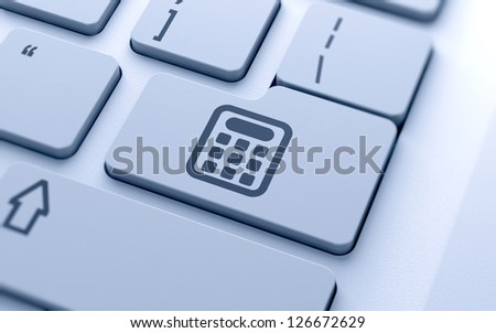 3d illustration of calculator icon button on keyboard with soft focus