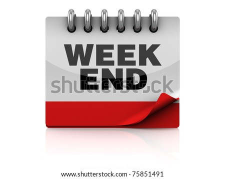 3d illustration of calendar page with 'week end' text