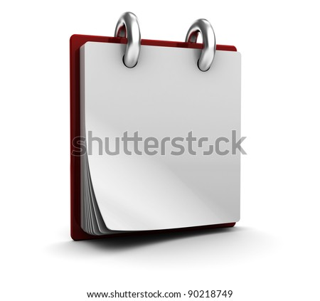 3d illustration of calendar with blank page, over white background