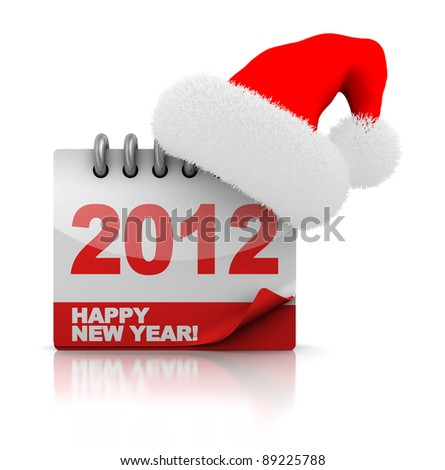 3d illustration of 2012 calendar with christmas hat