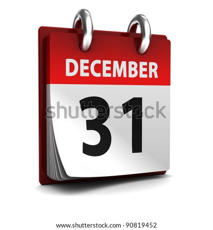 3d illustration of calendar with 31 december page open