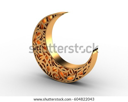 3D Illustration of Calligraphic Styled Moon in Gold