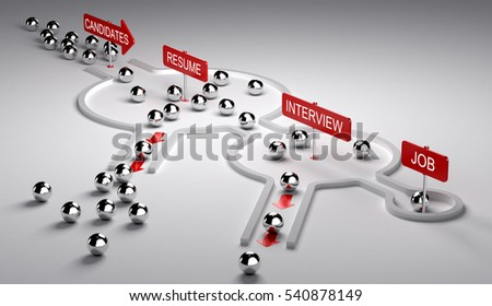 3D illustration of candidates recruitment process. Applicants enters by the left then pass three steps resume, interview and finally get the job, horizontal image