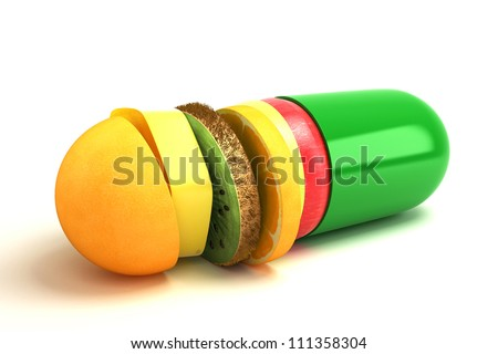3d illustration of capsule with fruit slice against white