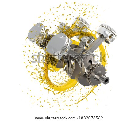 3d illustration of car engine with lubricant oil.  Car engine components with splashes of oil on white background. Engine oil concept.