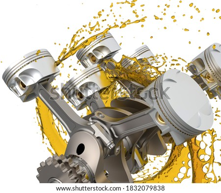 3d illustration of car engine with lubricant oil. Detailed car engine components with splashes of oil on white background. Engine oil concept.