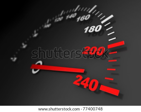 3d illustration of car speed meter close-up
