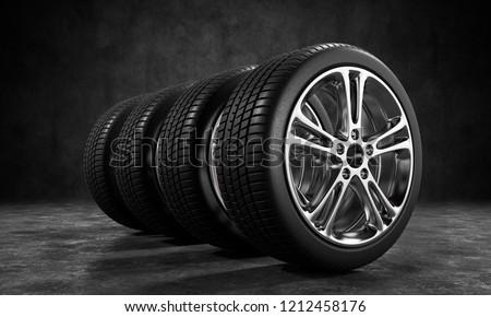 3D illustration of car tires storage