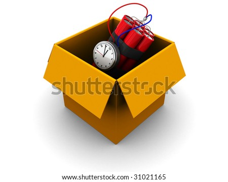 3d illustration of carton box with dynamite inside