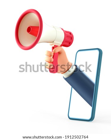 3D illustration of cartoon businessman hand holding megaphone through smartphone screen. Social media concept, business advertising, mobile application. Isolated on white background.
