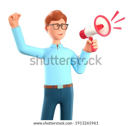 3D illustration of cartoon cheerful man holding a speaker. Cute smiling businessman announcing over the loudspeaker by raising his hand, isolated on white background. Business advertising concept.