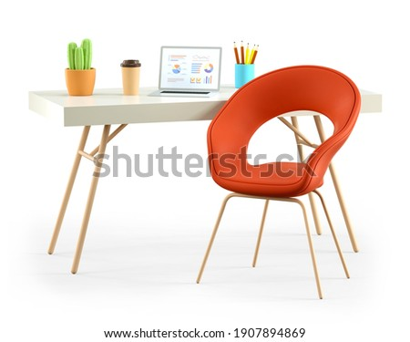 3D illustration of cartoon empty office workplace. Open laptop, modern desk, cozy chair, coffee cup and cactus, isolated on white background. Web interface, charts and analysing statistics.