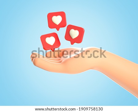 3D illustration of cartoon human hand and like heart icons on a red pins flying around over palm. Social media concept, web icon, like notifications, isolated on blue background.