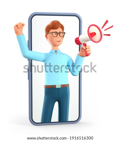3D illustration of cartoon man holding a megaphone at smartphone screen. Blogger character announcing over the loudspeaker by raising his knuckle through phone. Advertising share concept.
