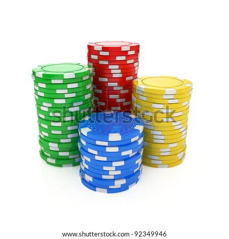 3d illustration of casino chips isolated on the white background