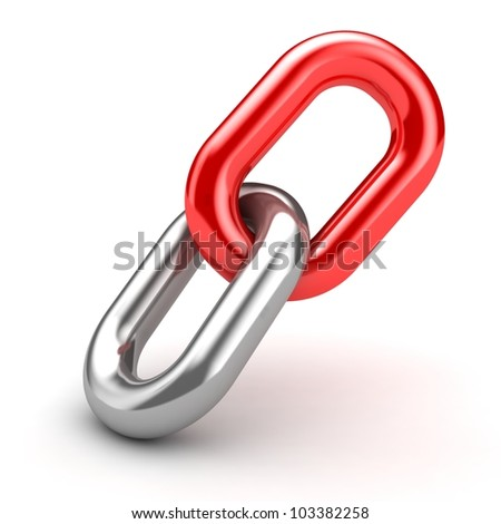 3d illustration of chain link over white