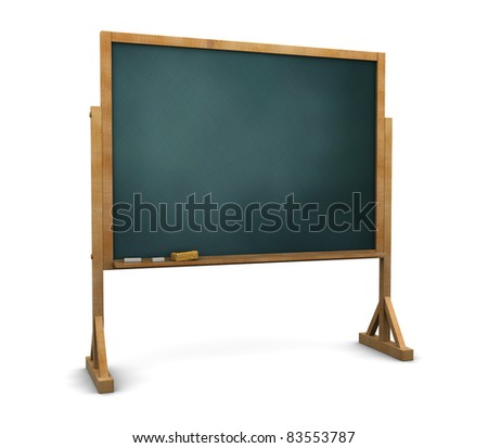 3d illustration of chalkboard stand over white background