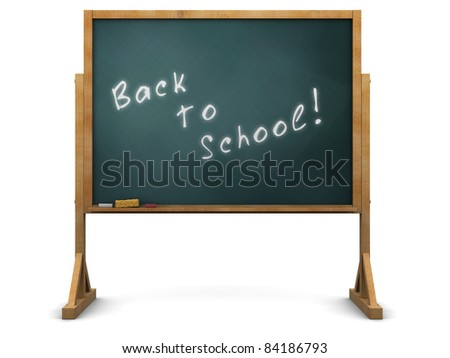 3d illustration of chalkboard with 'back to school' sign