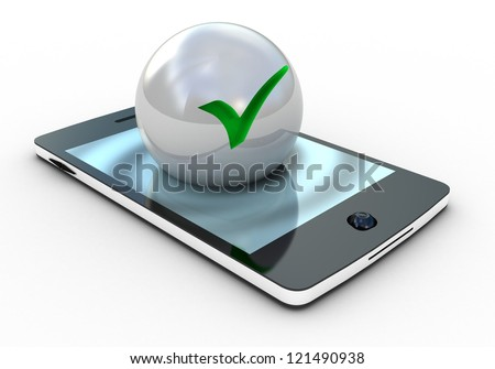 3d illustration of check mark on smartphone over white background