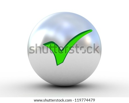 3d illustration of check mark over white background