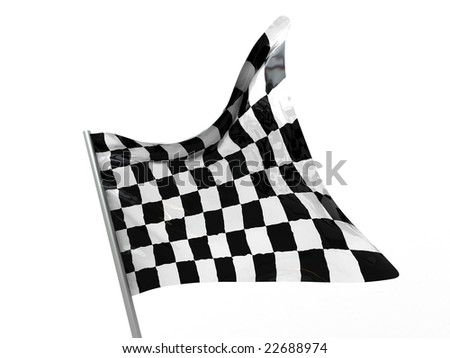 3d illustration of checkered flag closeup over white background