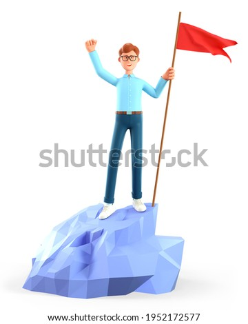 3D illustration of cheerful man hoisting a red flag on the top mountain. Cute cartoon happy businessman throwing his hand up reaching goals. Peak of success, leadership, objective attainment concept.