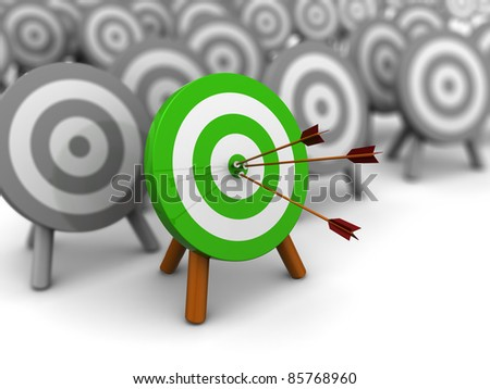 3d illustration of choice right target concept