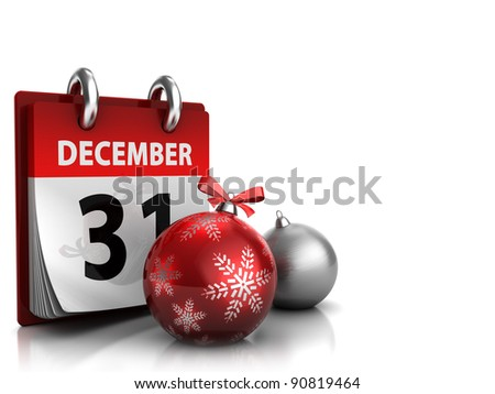 3d illustration of christmas background with calendar and xmas balls