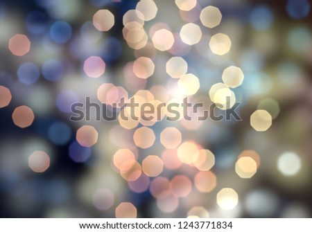 2d illustration of christmas bokeh on dark background. abstract texture. Defocused scattered dots background. Blurred bright light. Circular points. Christmas eve time. Colorful circle shapes. #1243771834