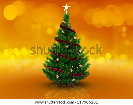 3d illustration of christmas tree over orange background