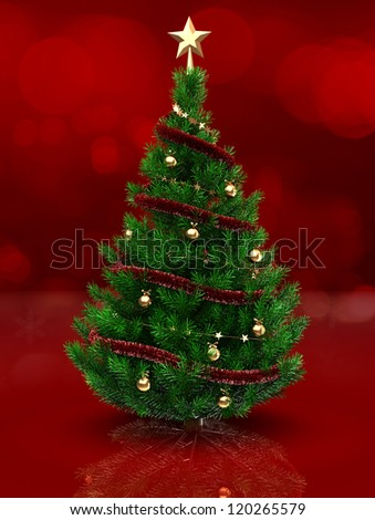 3d illustration of christmas tree over red background