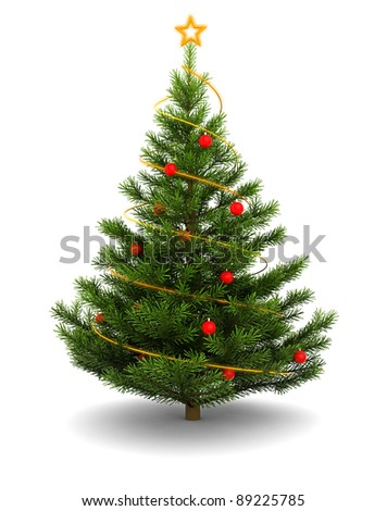 3d illustration of christmas tree, over white background