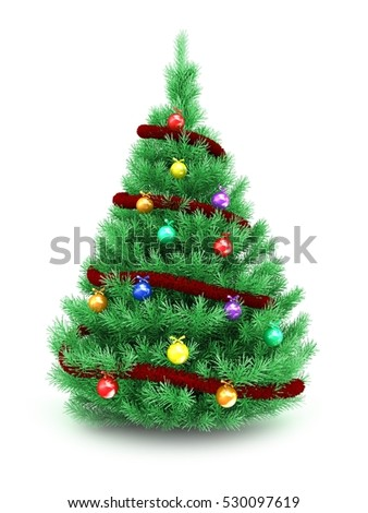 3d illustration of Christmas tree over white background with red tinsel and glass balls - Shutterstock ID 530097619