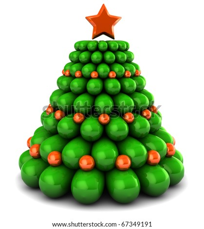 3d illustration of christmas tree with orange color decorations