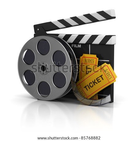 3d illustration of cinema clap, film reel and tickets, over white background