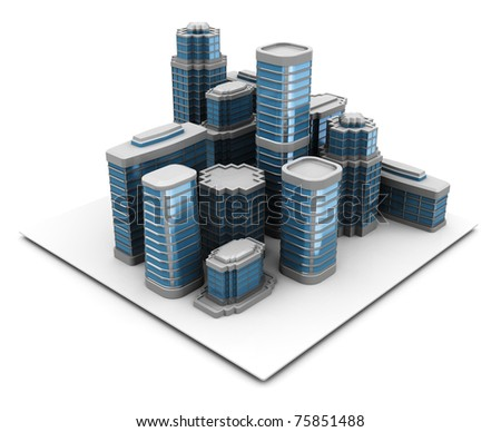 3d illustration of city block, over white background