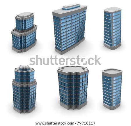 3d illustration of city buildings set, over white background