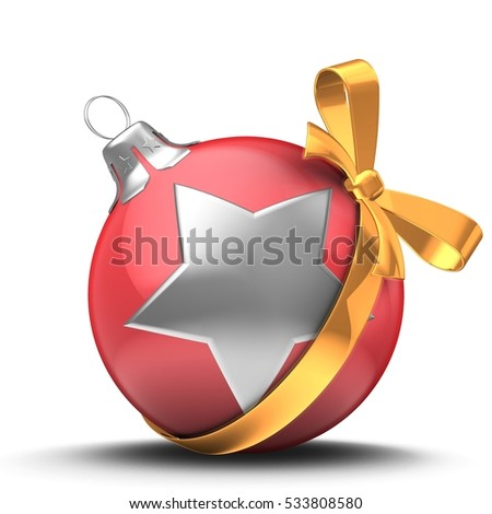 3d illustration of classic Christmas ball over white background with silver star and golden ribbon