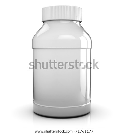 3d illustration of clear and blacnk medical bottle over white background