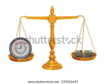 3d illustration of clock and dollar packet balance on golden scale