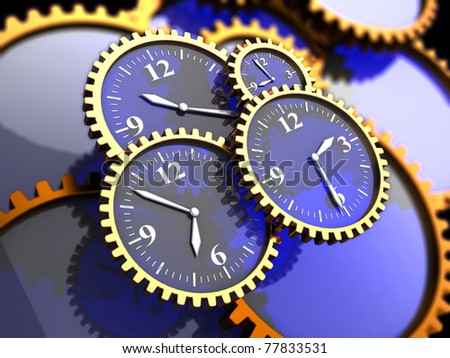 3d illustration of clock gears background, time concept - stock photo