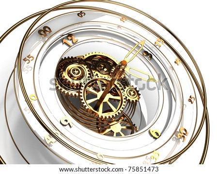 3d illustration of clock mechanism with golden numbers and arrows