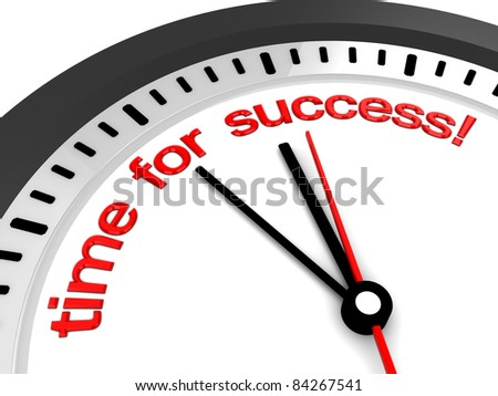 3d illustration of clock with 'time for success' sign